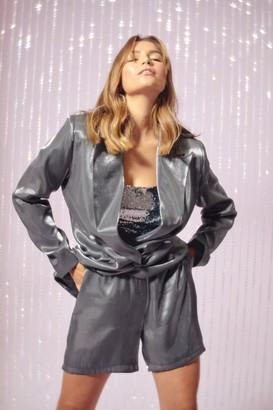 Nasty Gal Womens Let's Glow Metallic High-Waisted Shorts - grey - 6