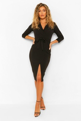 boohoo Split Front Belted Midi Blazer Dress