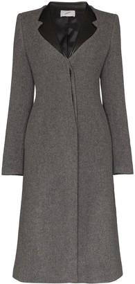 Coperni faux leather-trimmed lapel coat