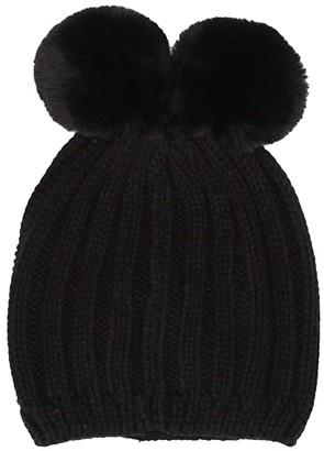 Steve Madden Double Pom Beanie (Black) Caps
