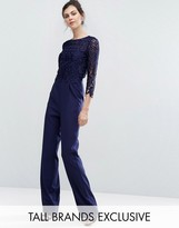 Little Mistress Tall Allover Premium Lace Top Tailored Jumpsuit