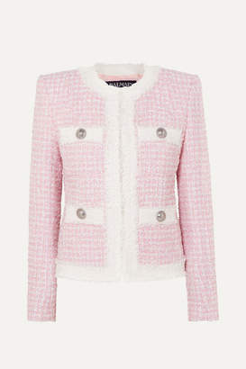 Balmain Embellished Tweed Blazer - Pink