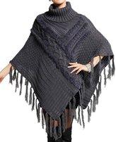 NOVAWO® New Knitted Turtleneck Poncho Cape Sweater Tassel Batwing Cloak Shawl