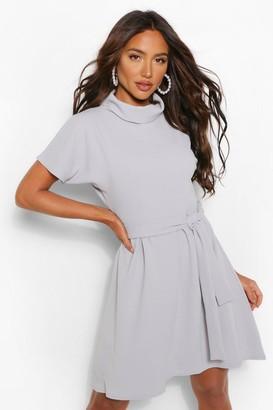 boohoo Turtleneck Belted Shift Dress