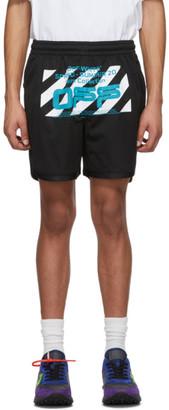 Off-White Black Mesh Wavy Line Logo Shorts