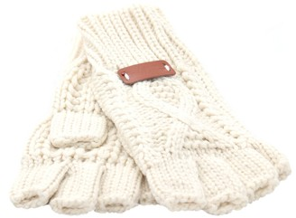 Aran Traditions Womens Ladies Winter Cable Knitted Cream White Fingerless Gloves(Size: One Size)
