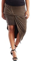 Charlotte Russe Plus Size Asymmetrical Draped Faux Suede Skirt