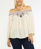 Flying Tomato Cream & Red Embroidery Off-Shoulder Top - Plus