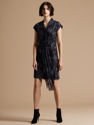 Halston Cap Sleeve Draped Neck Printed Silk Dress