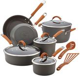 Rachael Ray Cucina Hard-Anodized Nonstick 12-Piece Cookware Set in Gray with Handles in Pumpkin Orange