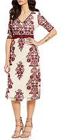 Lucy Paris Embroidered V-Neck Lace A-line Midi Dress