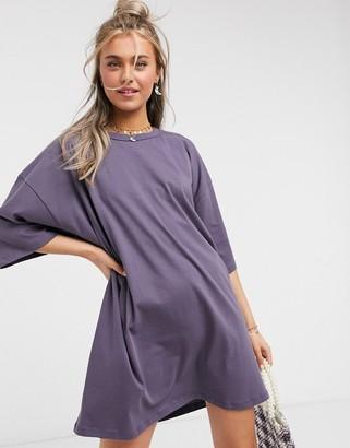 ASOS DESIGN oversized t-shirt dress in grey
