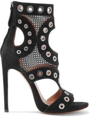 Alaia Eyelet-embellished Mesh-paneled Suede Ankle Boots