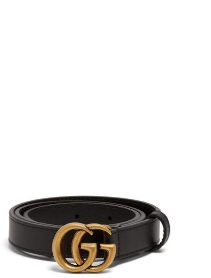 Gucci Gg Logo Grained Leather Belt - Womens - Black