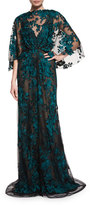 Monique Lhuillier Embroidered Capelet Illusion Gown, Black/Forest Green
