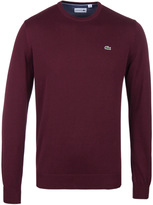 Lacoste Maroon Crew Neck Cotton Sweater