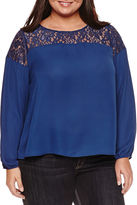 Boutique + + Long Sleeve Round Neck Georgette Blouse-Plus