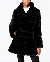 Jones New York Faux-Leather-Trim Faux-Fur Coat