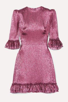 The Vampire's Wife Ruffled Silk-blend Lame Mini Dress - Fuchsia