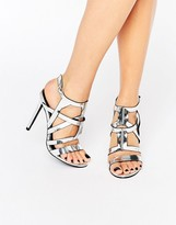 Missguided Metallic Caged Heeled Sandal