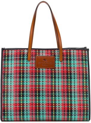 Etro Coated Checked Tote Bag