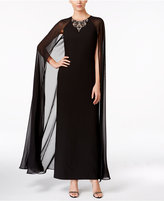 Vince Camuto Embellished Crape Gown with Cape
