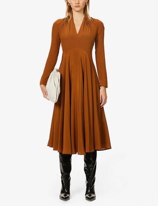 Victoria Beckham Crossover silk midi dress