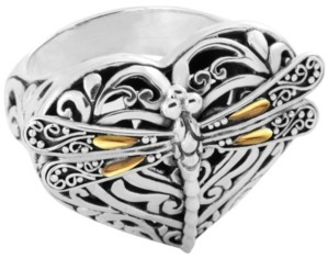 On Sweet Dragonfly Love Potion Sterling Silver Ring Embellished by 18K Gold Accents 4 Strips of Dragonfly's Wings