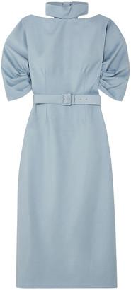 Emilia Wickstead + The Woolmark Company Belted Wool-crepe Midi Dress