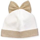 Federica Moretti Metallic-Trim Wool-Blend Beanie w/ Bow, White/Gold