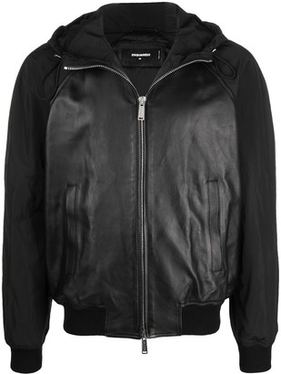 DSQUARED2 Leather Hooded Bomber Jacket