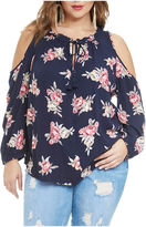 Fashion to Figure Kimberly Floral Cold Shoulder Blouse-Plus