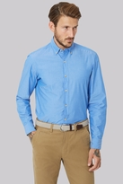 Moss Bros Slim Fit Blue Single Cuff Button Down Collar Chambray Casual Shirt