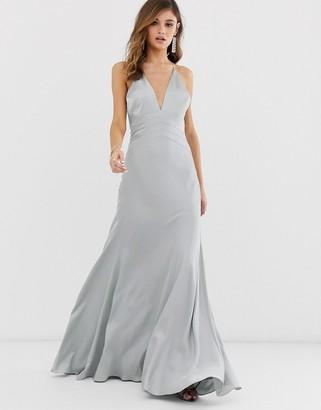 Asos Edition EDITION satin panelled cami maxi dress-Blue