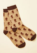 SOCKS-1010 Investigate the coziest spot in your house with the help of these brown crew socks! Designed with chocolate-colored trim and patterned with Sherlock silhouettes, this comfy pair is the logical one in which to lounge.