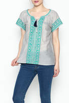 Thml Gray Peasant Top