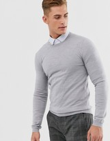 Asos Design DESIGN muscle fit merino wool sweater in light gray marl
