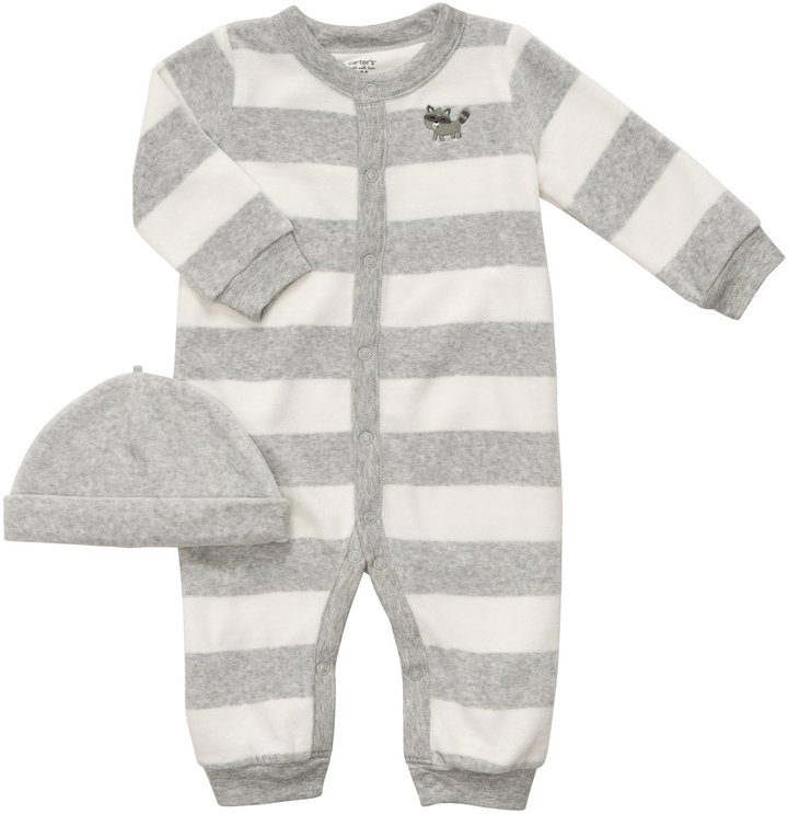 Carter's 2 Piece Striped Coverall w/ Hat