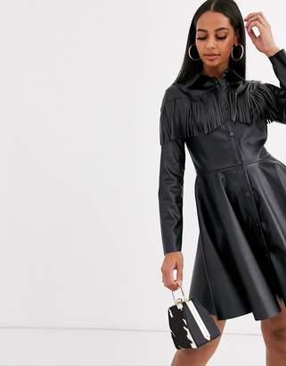 Asos Design DESIGN Long sleeve leather look fringe shirt dress-Black
