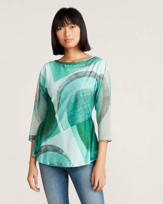 Save the Queen Green Geometric Print Blouse