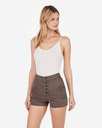 Express Super High Waisted Cargo Twill Shorts