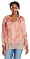 Lucky Brand Women's Plus-Size Faded Paisley Top