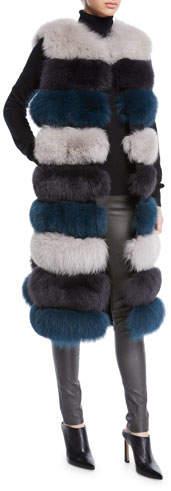 3-in-1 Long Fur Vest w- Shawl