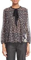 Marc Jacobs Women's Daisy Print Sheer Tie Neck Peasant Blouse