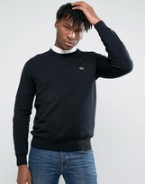 Lacoste Sweatshirt With Croc Logo In Black