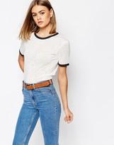 Daisy Street Burnout Retro T-Shirt with Contrast Trim