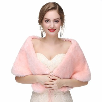 Asken Women Faux Fur Bridal Cape Winter Warm Stole Evening Bolero Shoulder Cover Up Shrug Shawl Silver Gray