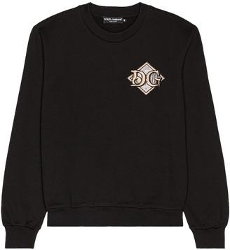 Dolce & Gabbana Long Sleeve Logo Tee in Black | FWRD