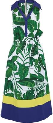 Alice + Olivia Margot Belted Printed Cotton-poplin Midi Dress