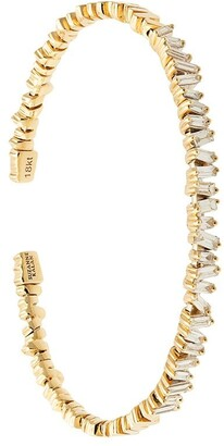 Suzanne Kalan 18kt yellow gold Fireworks flexible diamond baguette cuff